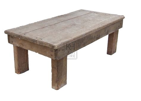 prop hire 187 tables 187 low rustic wood table keeley hire