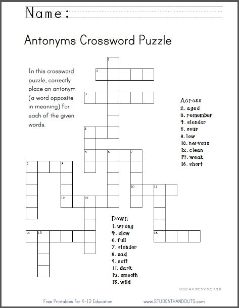 printable english puzzle antonyms crossword puzzle free to print pdf file ccss