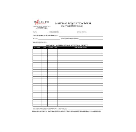 construction material request form template 9 material order form templates free pdf word format