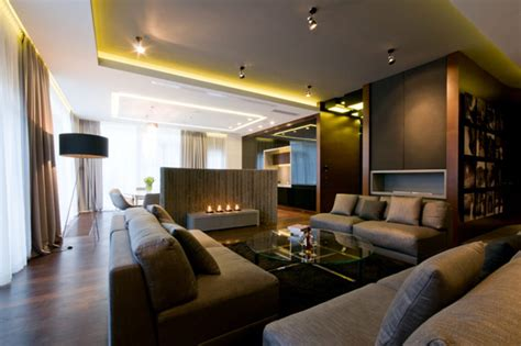 Contemporary Apartment by Modern Blend Of Materials And Textures Defining Spacious