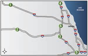 Illinois Toll Road Map by Locations Illinois Tollway Oases