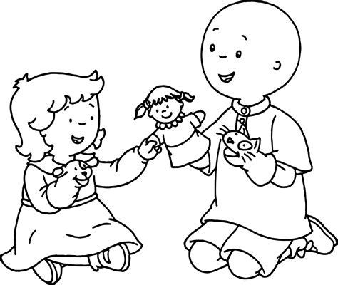 Caillou Rosie Coloring Pages