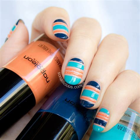 nail art negative space tutorial negative space nautical nails tutorial