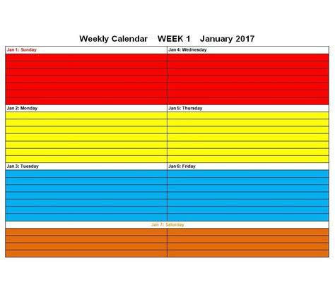 blank weekly calendar templates  excel word