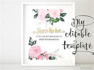 Wedding Signage Templates by Hashtag Sign Template Featuring Pink Floral Accents