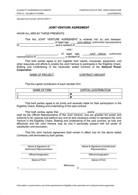 joint will template free 5 joint venture agreement slereport template document