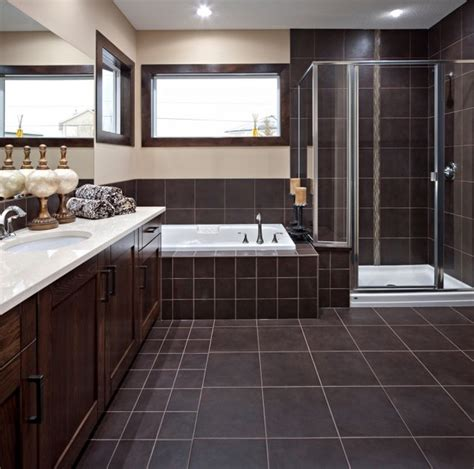 Modern Bathroom Brown Tiles Brown Tile Framed Shower Door