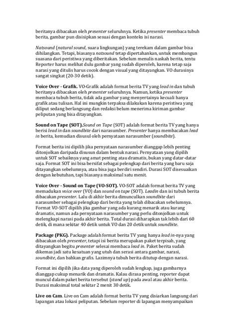 format berita reader rumus 5 c untuk penulisan berita tv