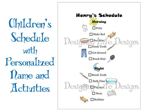 printable schedule for toddlers 6 best images of printable kids daily routine schedule