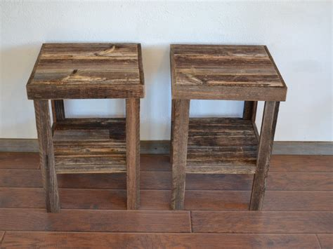 Wood End Tables Eco Friendly Barnwood Wood End Table Or Stand Pair