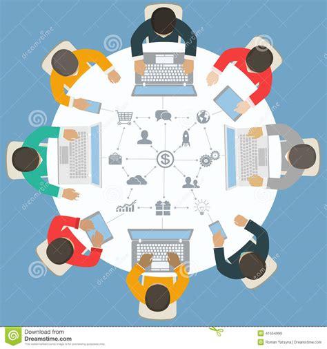 imagenes animadas empresariales trabajo en equipo para la mesa redonda estrategia