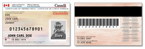 canadian id card template certificate of indian status identity cards
