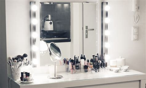 makeup table with mirror and lights ikea my new make up vanity nappy hairz