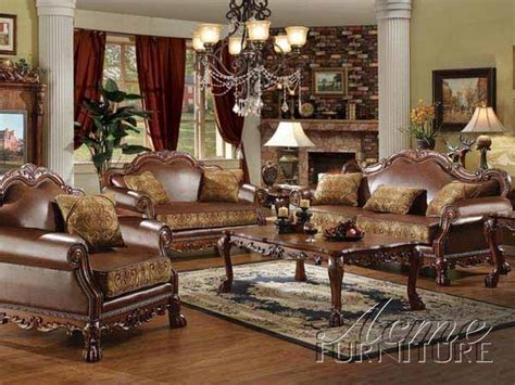 Leather And Fabric Living Room Furniture by Acme Furniture Dresden Traditional Pu Leather Fabric 2