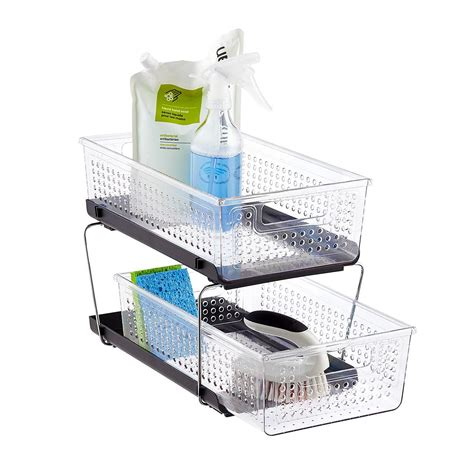 2 tier cabinet organizer madesmart 2 tier divided cabinet organizer the container