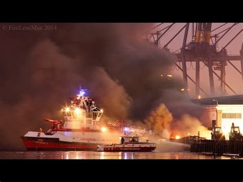 lafd wharf fire san pedro fire boats in action part - Fire Boat San Pedro