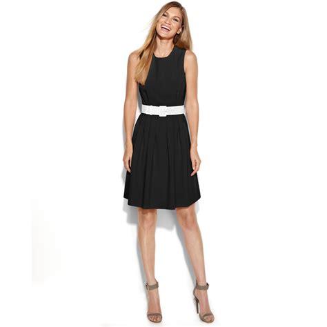 calvin klein sleeveless belted aline dress in black lyst