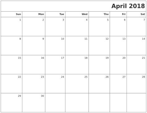 printable calendar for april 2018 april 2018 calendar printable printable templates letter