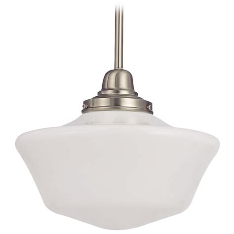 Schoolhouse Style Pendant Lighting 12 Inch Schoolhouse Pendant Light In Satin Nickel Finish Fb4 09 Ga12 Destination Lighting