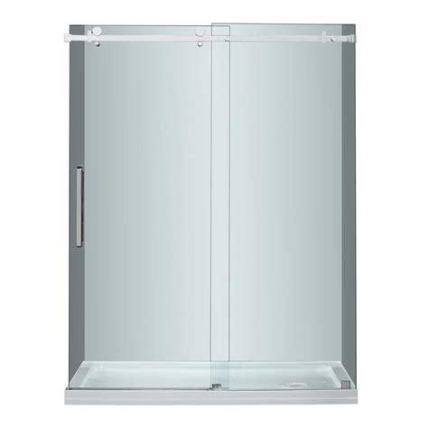stainless steel shower doors aston moselle 60 in x 75 in completely frameless sliding shower door in stainless steel with