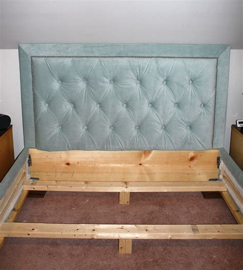 white tufted headboard with nailhead trim and matching bed frame diy projects