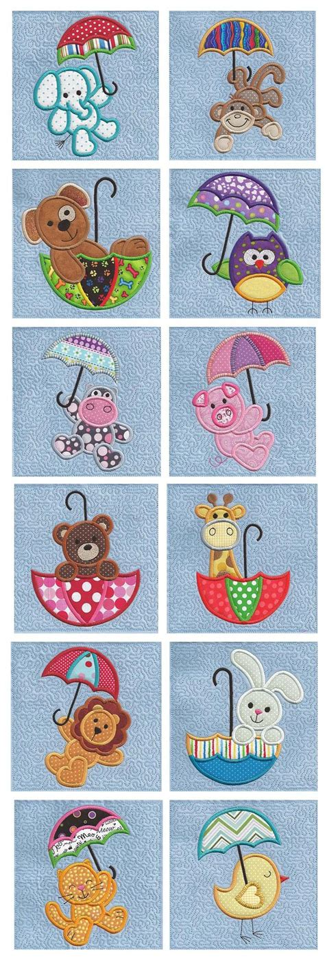 animal pattern umbrella cute umbrella critters applique design set available for