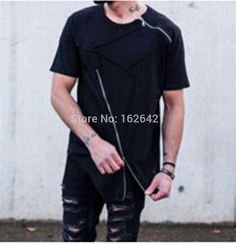 Blouse Zipper Black Hitam 2015 Hip Hop Cotton Neck Front Zipper T Shirts