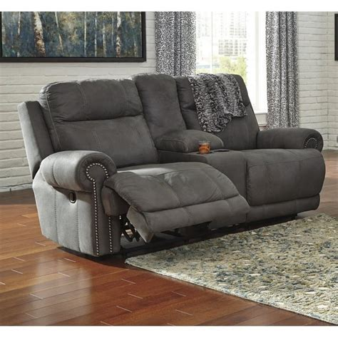 ashley reclining loveseat with console ashley austere reclining faux leather console loveseat in