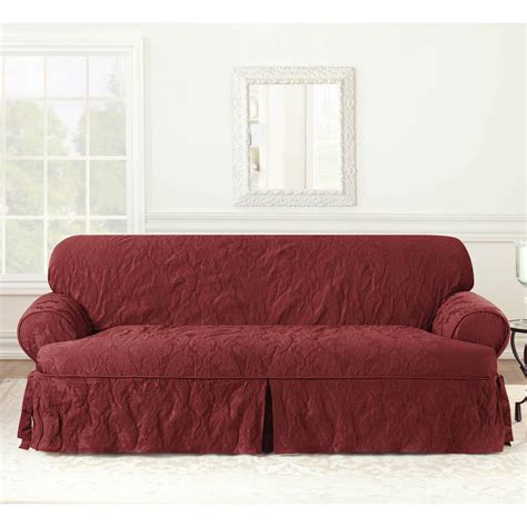 matelasse slipcover sure fit matelasse damask 1 piece t cushion kick pleat