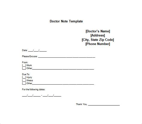 dr notes for work templates doctor note templates for work 8 free word excel pdf