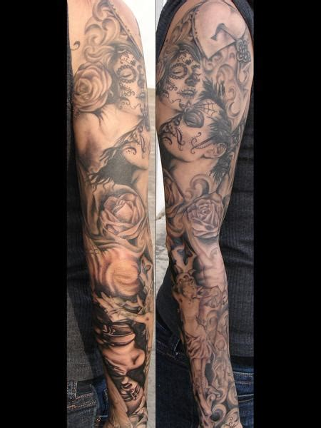 day of the dead tattoos sleeves mario tattoos half sleeve day of the dead