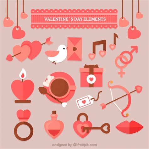 valentines day items s day items in pastel colors vector free