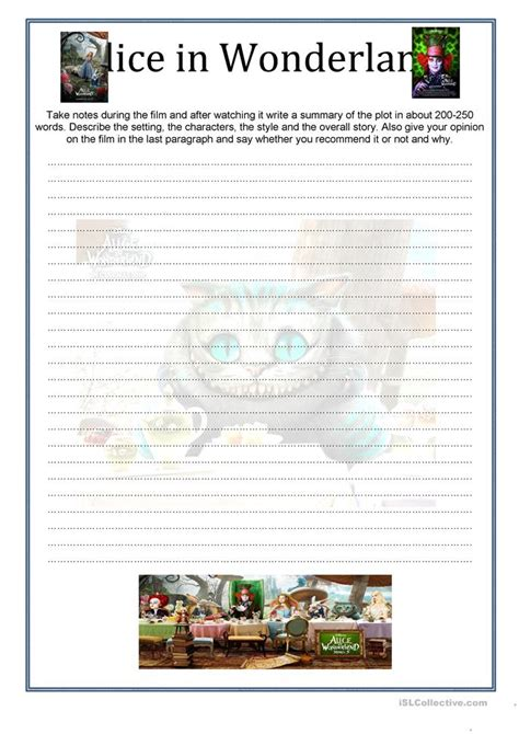 alice in wonderland printable activity sheets alice in wonderland worksheet free esl printable