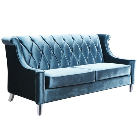 armen living barrister sofa armen living barrister sofa in blue velvet with crystal