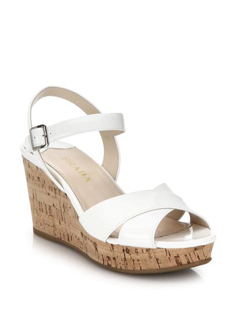 prada cork wedge patent leather sandals in white lyst