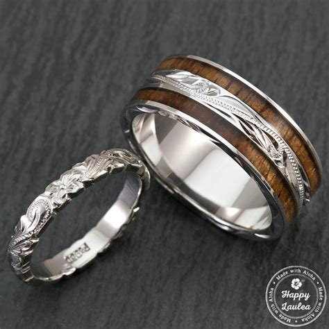Engraved Wedding Rings by Pair Of Engraved Platinum And Sterling Silver Wedding