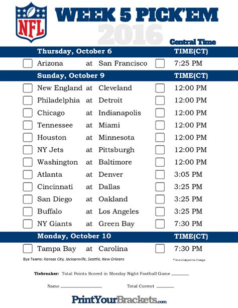 printable nfl schedule week 5 central time week 5 nfl schedule 2016 printable