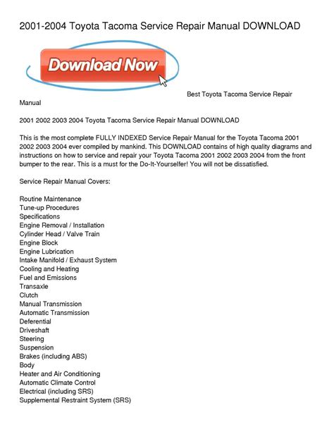 service repair manual free download 2007 toyota tacoma free book repair manuals calam 233 o 2001 2004 toyota tacoma service repair manual download