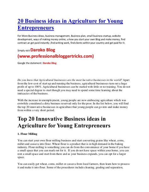 business plan format in nigeria 20 business ideas in agriculture for young entrepreneurs