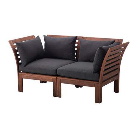 ikea applaro sectional 196 pplar 214 h 197 ll 214 loveseat outdoor brown stained black ikea