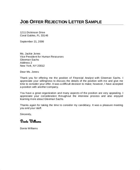 Rejection Letter Heading Employment Rejection Letter Sle The Letter Sle