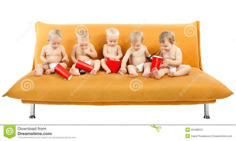sofa kinder children cinema popcorn on white stock