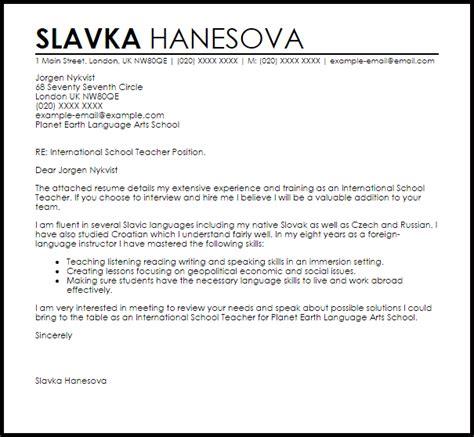 International School Teacher Cover Letter Sample   LiveCareer