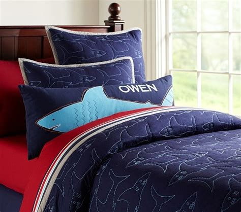 shark bedding shark pillow pottery barn kids boys room pinterest