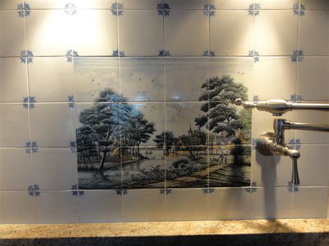 wesselink delft tile tableau backsplash traditional