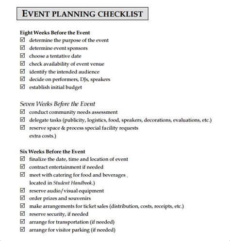 sample event planning checklist templates sample templates