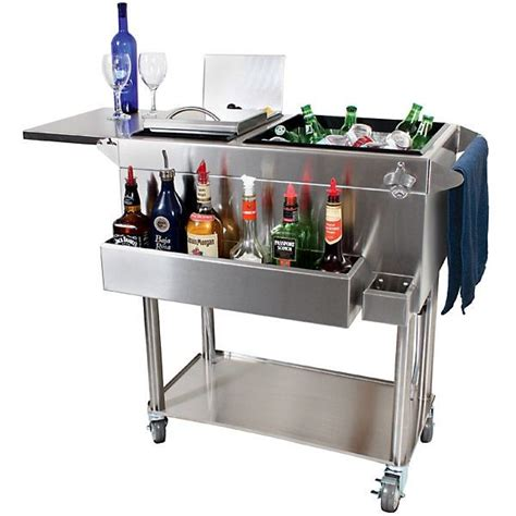 portable cocktail glastender portable stainless steel cocktail station cart