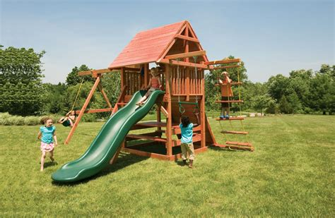 redwood swing sets opening star outdoor playset with swings picnic table