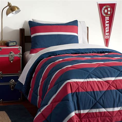 Microfleece Comforter by Block Stripe Deluxe Value Comforter Set Pbteen