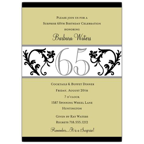 elegant vine chartreuse 65th birthday invitations paperstyle